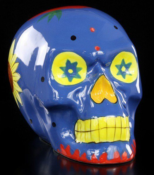 Day of the Dead Skull - Ceramic blue
