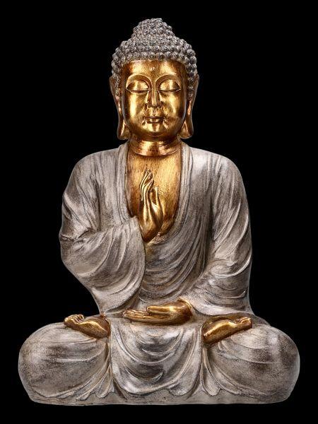 Buddha Figurine Sitting with Gold Finish