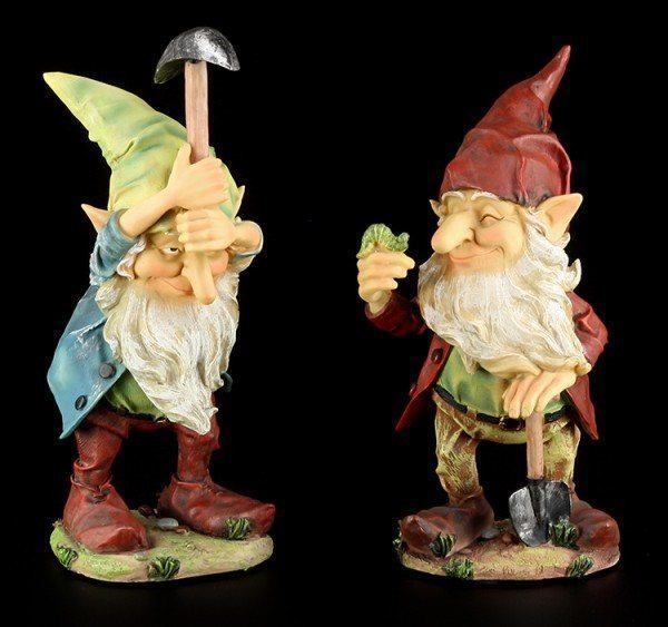Garten Figuren - Zwerge mit Spitzhacke und Raupe