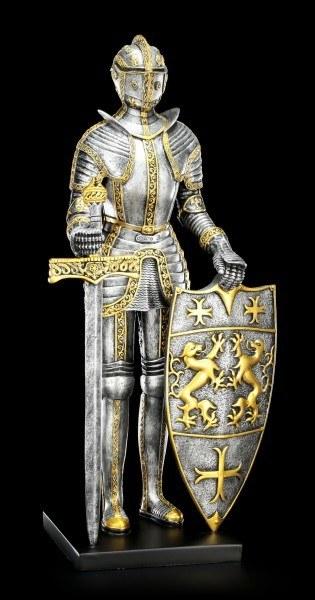 Große Ritter Figur mit Schwert und Schild