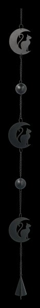 Metal Wind Chime - Black Cat and Moon