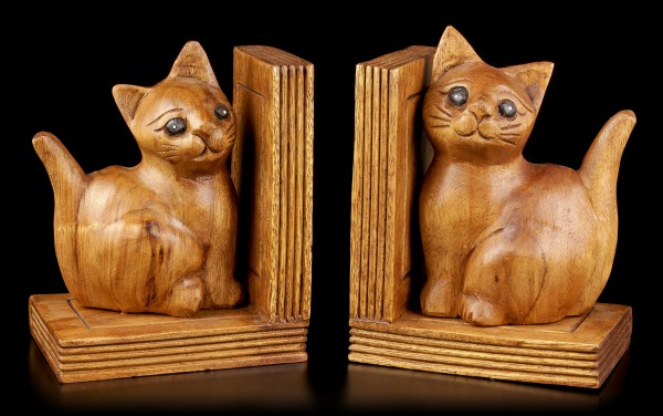 Cat Bookend Set - Wood