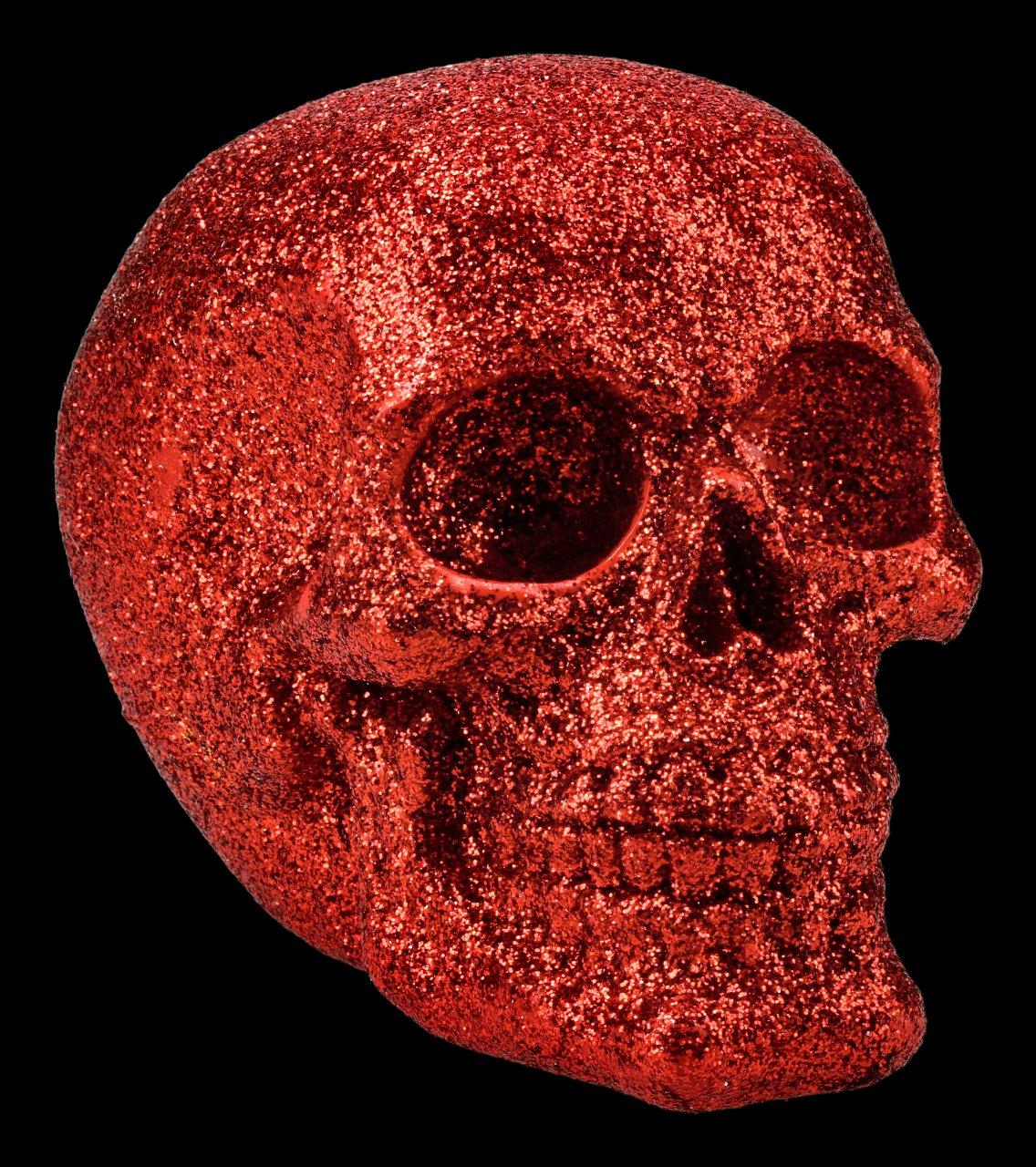 Totenkopf - Glitzer rot