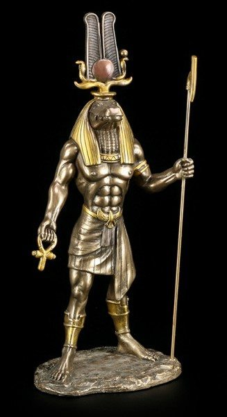 Sobek Figur - Ägyptischer Krokodilgott - bronziert