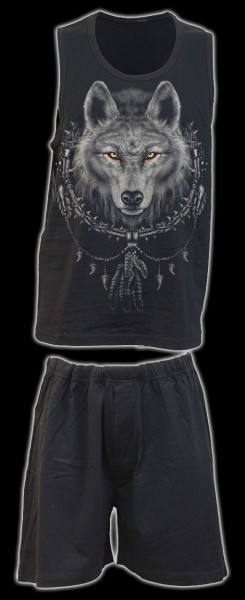 Herren Pyjama Set 4 tlg. Fantasy - Wolf Chi