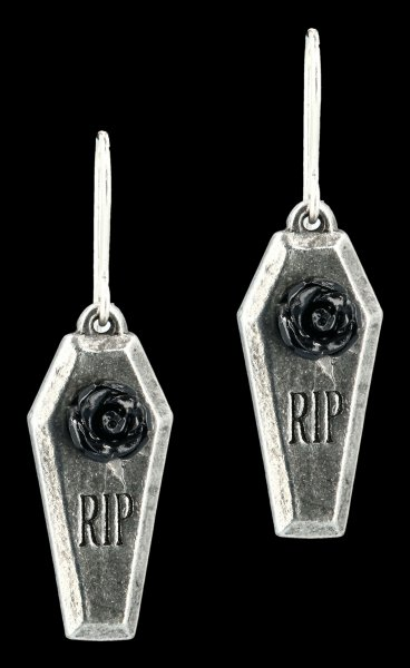 Alchemy Gothic Dropper Earrings - RIP Rose