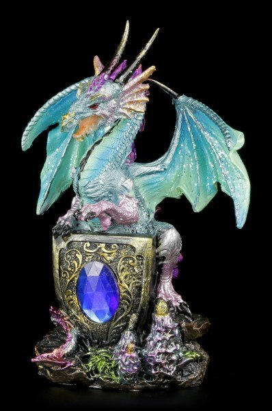 Dragon Figurine - Blue with Crystal