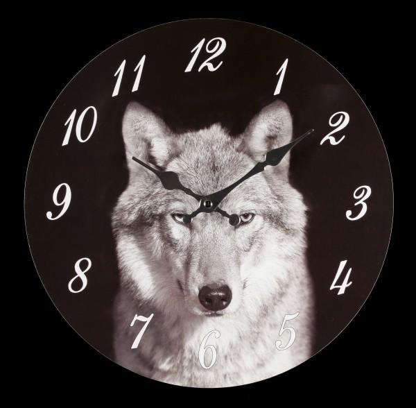 Wanduhr mit Wolfskopf