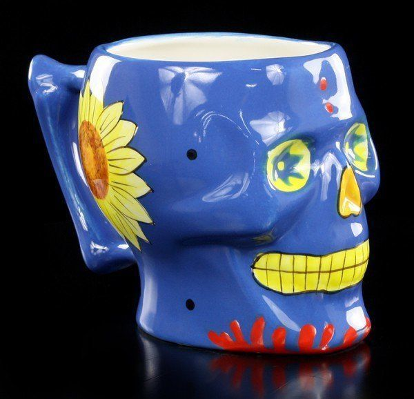 Skull Mug - Day of the Dead - blue