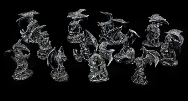 Dragon Figurines small - Black Set of 12