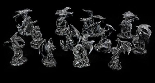 Drachen Figuren klein - Schwarz 12er Set