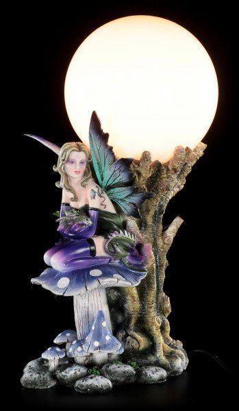 Fairy Table Lamp - Keona with Dragon Baby on Mushroom