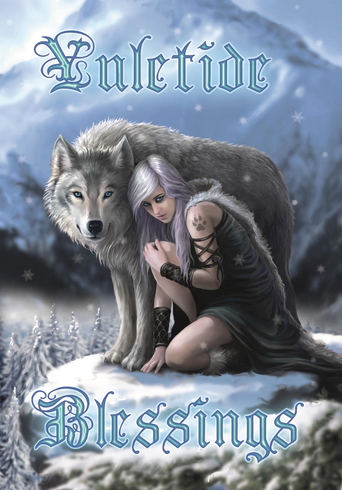 Fantasy Weihnachtskarte Wolf - Protector | Anne Stokes ...