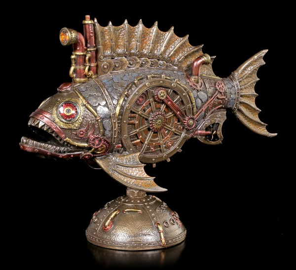 Steampunk Piranha Figurine with LED