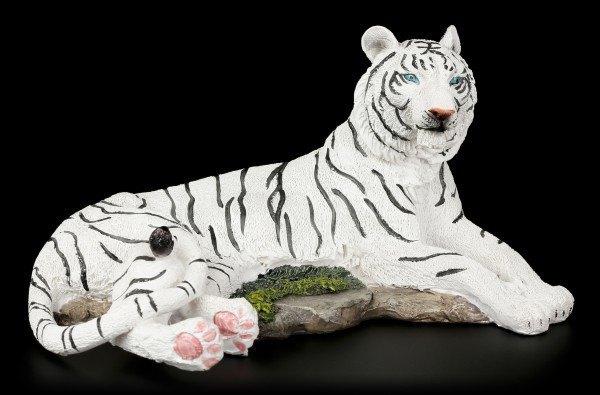 Weiße Tiger Figur - Auf dem Boden Liegend