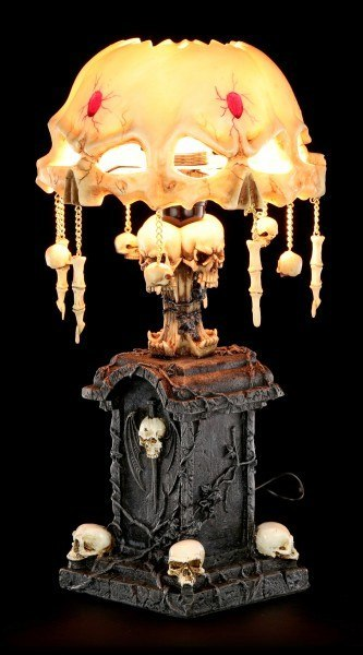 Tischlampe Schädeldecke mit Totenköpfen