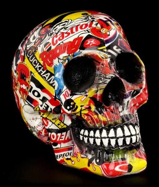 Bunter Totenkopf mit Markenwerbung - Pop Art