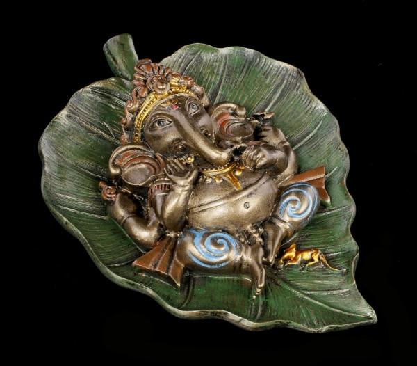 Ganesha Figur auf Buddhabaum Blatt - bronziert