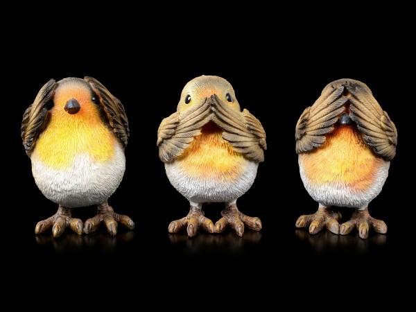 Drei weise Rotkehlchen Figuren - Nichts Böses