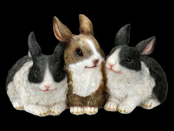 Gartenfigur - Drei kuschelnde Hasen