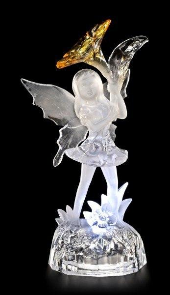 Acrylglas Feen Figur LED - Evelina mit gelber Blüte