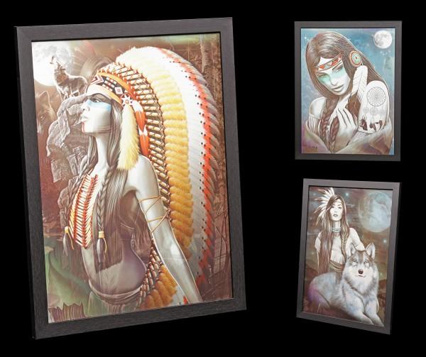 3D-Bild im Rahmen 3in1 - Indianer - Miracles in the Night