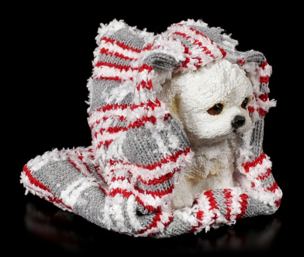 Dog Figurine wrapped in Blanket