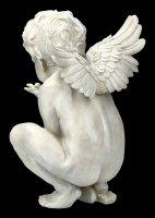 Garden Figurine - Angel crouching with Snail