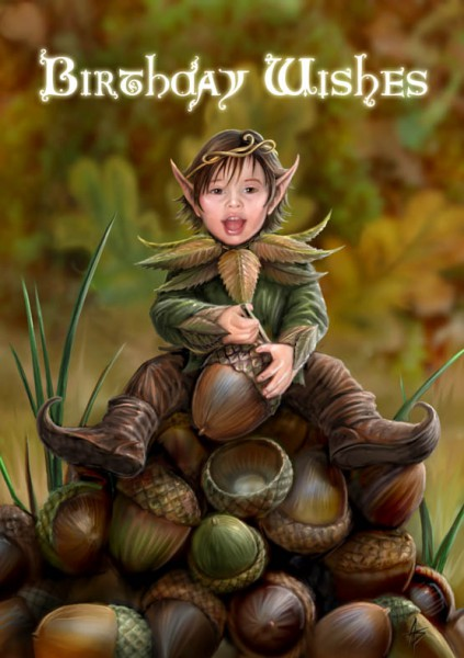 Fantasy Birthday Card - Acorn Pixie