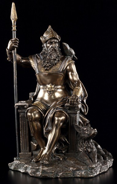 Odin Figurine sitting on Throne