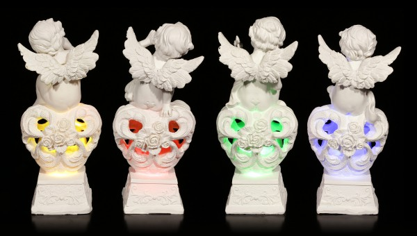 Angel Figurines - Cherubim on Hearts with LED - Set of 4