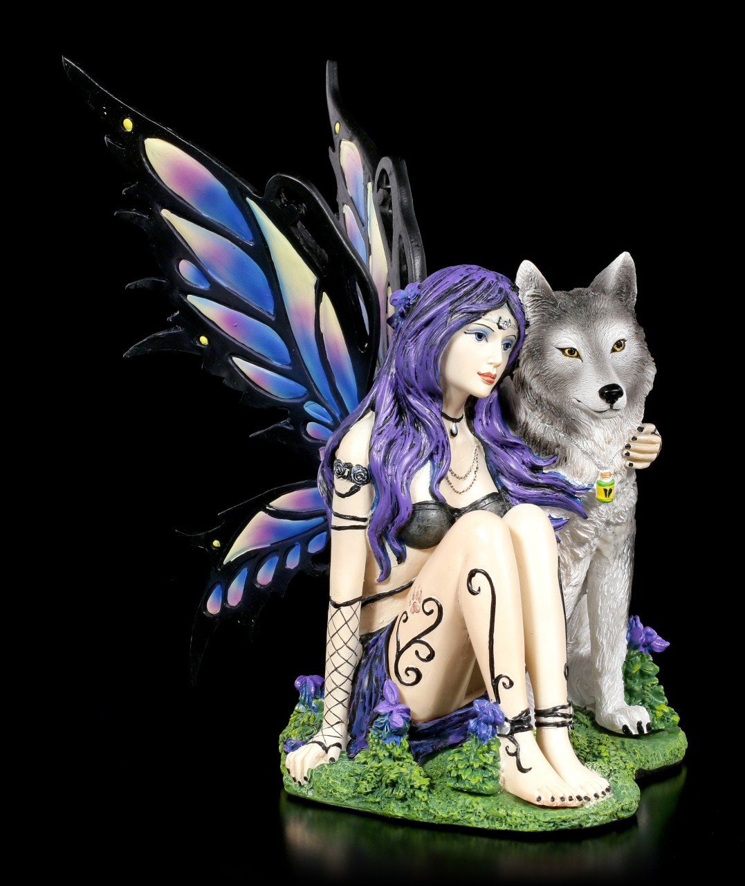Poison Fairy Figurine with Wolf - Wolfsbane