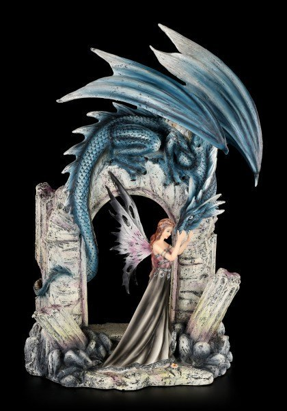 Elfen Figur mit blauen Drachen - Keona und Lividus