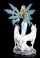 Large Fairy Figurine - Kimama with two white Wolves