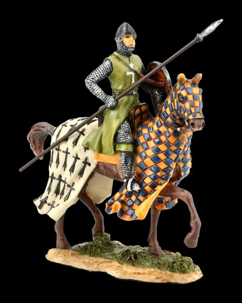 Knight Figurine on Horseback with Spear - colored
