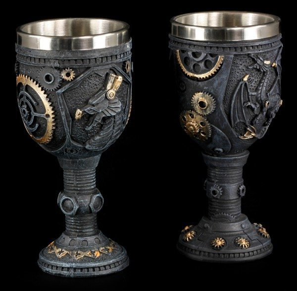 Small Goblets Set of 2 - Steampunk Dragons