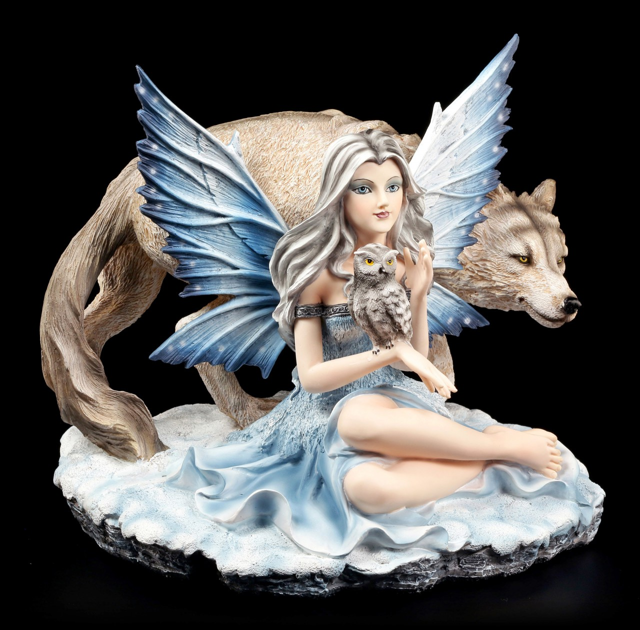 Elfen Figur - Veronica mit Eule und Wolf