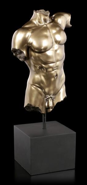 Male Nude Figurine - Torso on black Monolith