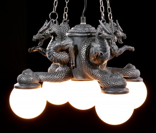 Deckenlampe - Vier Drachen mit fünf Lichtern