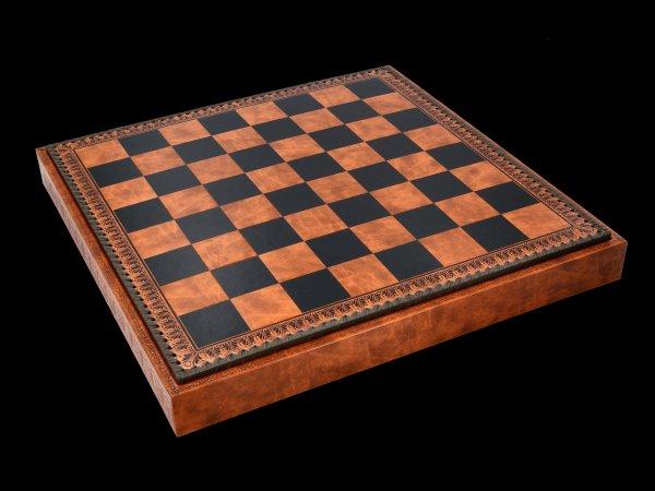 Öko-Leder Schachbrett & Backgammon Box