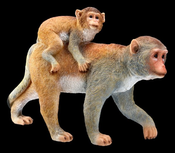 Gartenfigur Affen - Mama trägt Baby