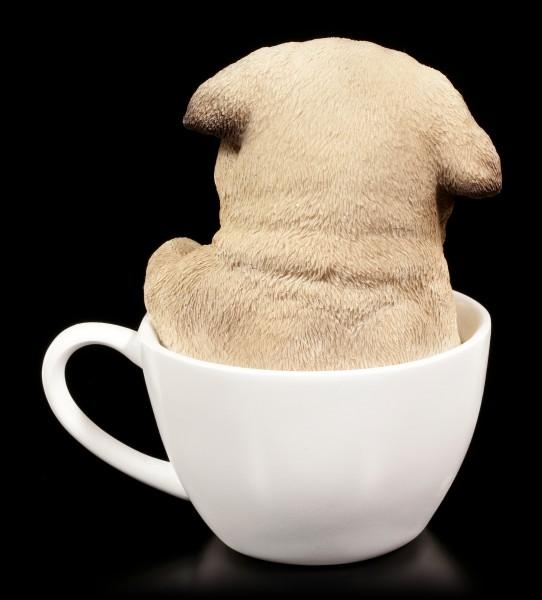 Hunde Figur - Mops Welpe in Tasse
