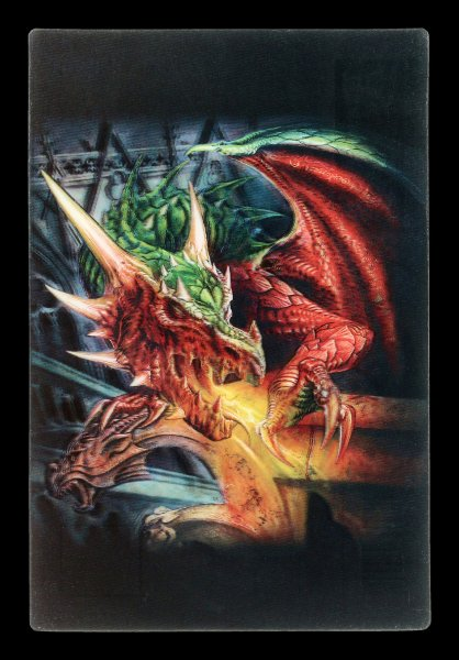 3D Postkarte mit Drache - Draco Basilca