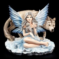 Fairy Figurine - Veronica with Owl and Wolf