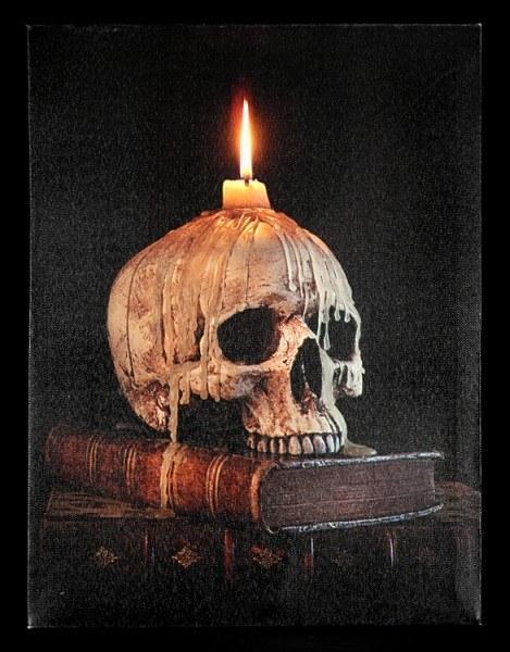 Leinwand LED - Totenkopf mit Kerze auf Buch