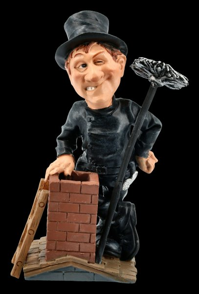 Funny Job Figurine - Chimney Sweeper on Roof
