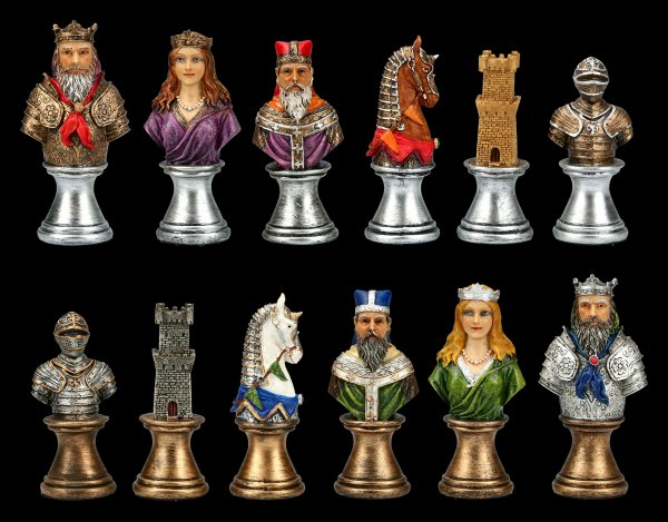 Schachfiguren Set - Mittelalter Büsten