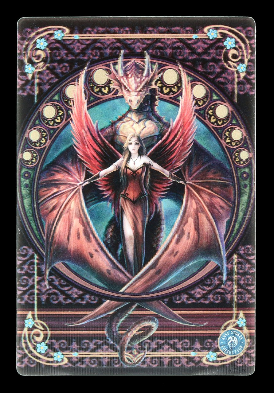 3D Postcard with Fairy & Dragon - Copper Wing