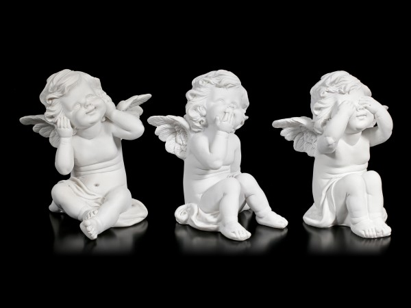 Three white Cherubim Figurines - No Evil