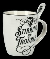 Mug with Spoon - Devil Stirring Up Trouble